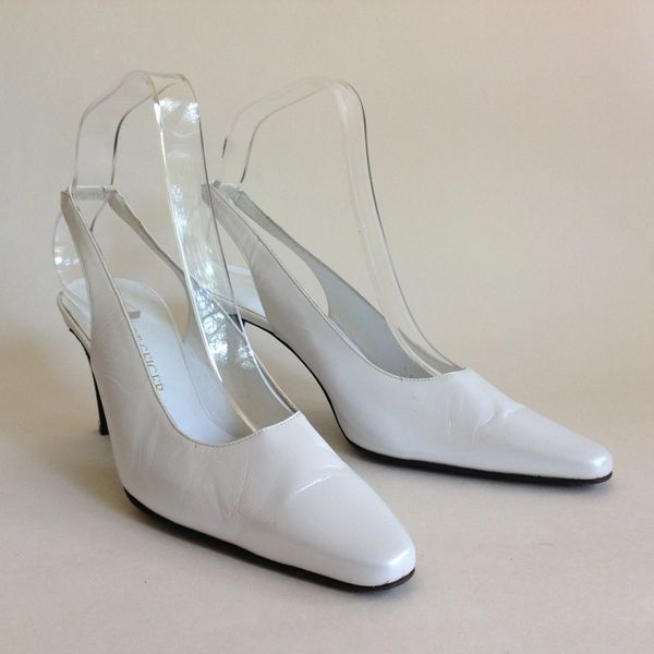 "Kurt Geiger Pearlescent White Leather 3.25"" Heel Sling Back Shoe Size UK 3.5 EU 36.5"