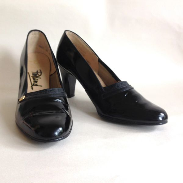 "PORTLAND Vintage 1960s Black Patent Leather 3"" Slim Heel Court Shoe Size UK 4.5 EU 37.5"