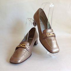 Alexandria Dark Gold 1980s Vintage Slip On Loafer Size UK 4