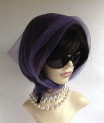 Soft Purple Vintage 1960s Nylon Chiffon Head Scarf Rolled & Stitched Hem