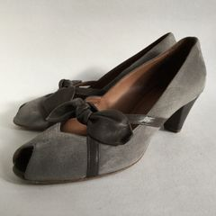 HOBBS NW3 Grey Suede Leather Vintage Style Peep Toe Bow Front Court With Shoe Cone Heel Size UK 4 EU 37