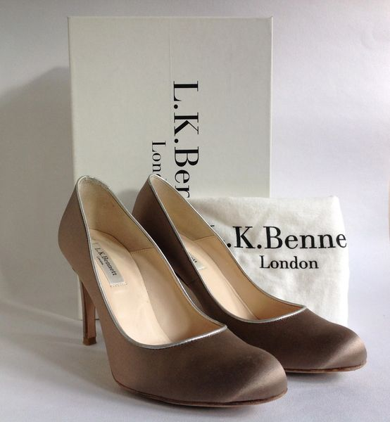 L.K.Bennett Taupe Satin & Leather Mid Slim Heel Court Shoes Box And Protective Bag. Called Savoy