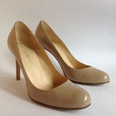 L.K. BENNETT Nude Mid Slim Heel Kitten Heel Patent Leather Court Shoe Size UK 4 EU 37