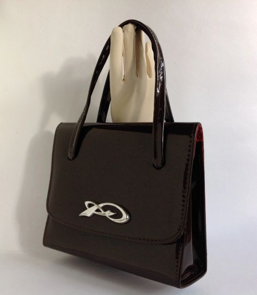 Twiggy Style Patent Rich Brown 1960s Vintage Handbag Fabric Lining Kelly Bag