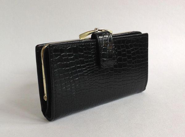 1980s Black Moc Croc Leather Vintage Purse Wallet Black Leather Fabric Lining