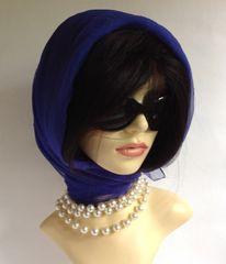 Royal Blue Silver Flecked Vintage 1960s Nylon Chiffon Head Scarf Rolled & Stitched Hem