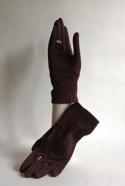 KIR Vintage 1950s Brown Nylon Evening Wrist Length Gloves Size 7