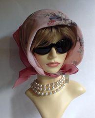 "St Michael 24"" Head Scarf Vintage 1980s Polyester Pink Floral Stitched Hem Edge"
