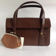 Vintage 1960s Twiggy Style Brown Faux Leather Handbag Coin Purse & Mirror
