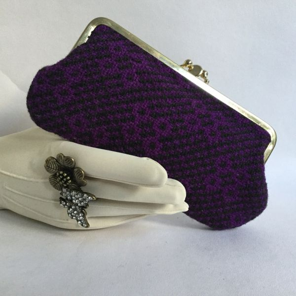 1950s Vintage Coin Purse Black Purple Tapestry Faux Suede Lining Double Sided