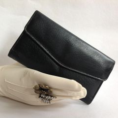 Leather 1980s Black Vintage Coin Purse Wallet Silver Toned Frame With Kiss Clasp