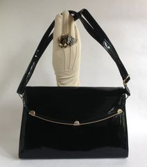 Vintage 1980s Black Patent Clutch Shoulder Bag Fabric Lining Adjustable Strap