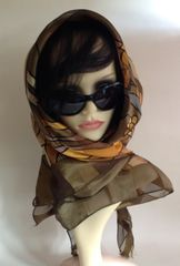 "Picasso Style Vintage 1970s 39"" Large Head Scarf Geometric Olive Beige Gold Polyester"