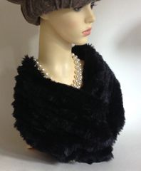 Faux Fur Black Fully Lined Neck Warmer Snood Scarf 1950s Vintage Inspired