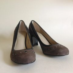 Marks & Spencer Autograph Taupe Studded Suede Court Shoes Size 3.5 EU 36.5