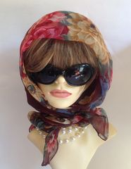 """Brown Floral Patterned 40"""" 1960s Nylon Chiffon Head Scarf Stitched Hem Church Races"""