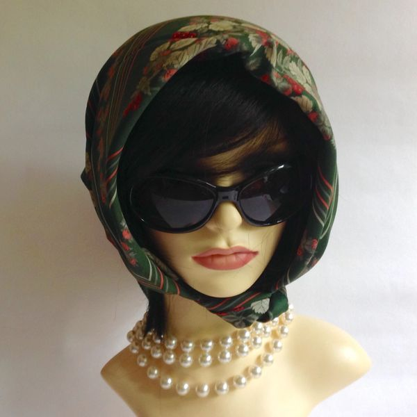 "BHS Vintage 1970s Polyester Head Scarf 26"" Green Strawberry Pattern Stitched Edge"