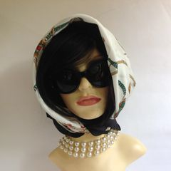 Vintage 1980s Head Scarf Chain & Pendant Red White Black Gold Polyester Stitched Hem