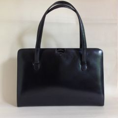 Black Leather Large 1960s Vintage Handbag Tan Suede Lined Silver Plate Fittings