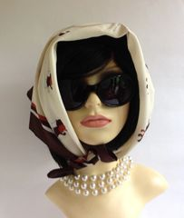 """St Michael 26"""" Head Scarf Vintage 1980s Polyester Ivory Brown Tan Stitched Hem"""
