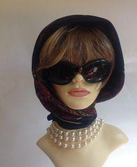"Vintage 1970s Dark Blue Paisley Polyester Head Scarf 30"" Stitched Hem Edge"