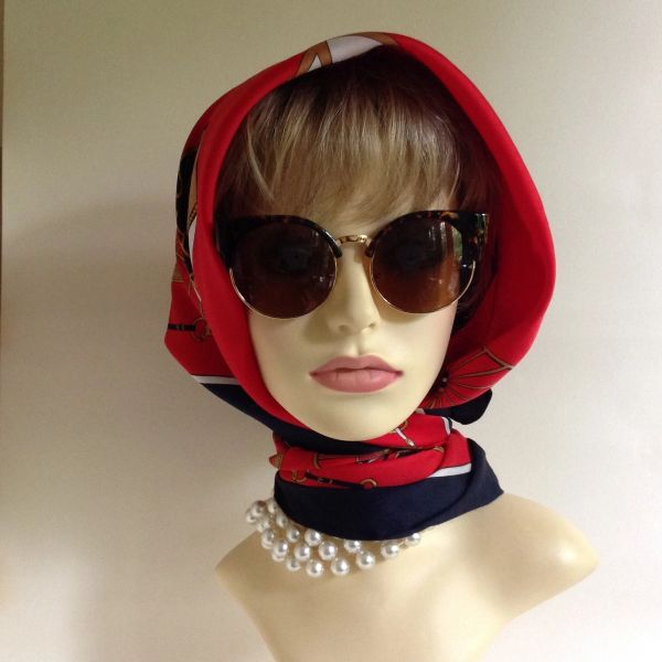 Vintage 1960s Head Scarf Vintage Automobiles Motorcars Red White Blue And Gold Polyester Stitched Hem