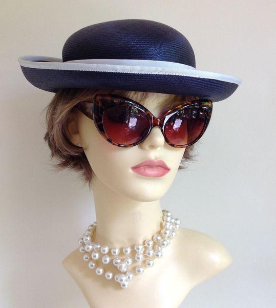 Peter Bettley 1970s Vintage Blue Straw Hat White Rose, Petersham Ribbon & Trim