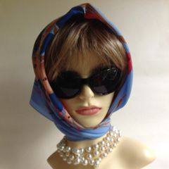 Vintage 1960s Light Blue Floral Polyester Head Scarf With Stitched Hem Edge