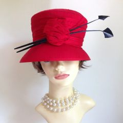 Ladies Red Vintage Inspired Cloche Hat Weddings Church Races Knot Natural Fibres