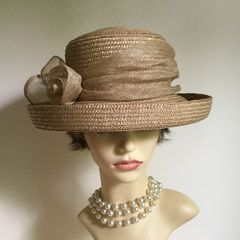BHS Natural Straw Small Brim Hat With Sinamay Bow and Ribbon Church Races Weddings