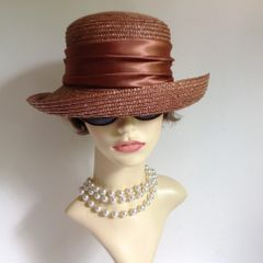 Light Bronze Straw Hat Small Brim Satin Ribbon Church Races Weddings