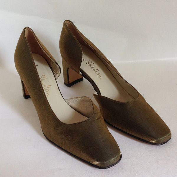 Jane Shilton Vintage 1980s Dark Gold Larmé Fabric Dorsay Court Shoe 2.5 Inch Block Heel UK 3.5 EU 36.5