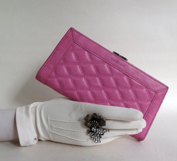 Saddler Pre Owned Pink Large Quilted Leather Purse Clutch Wallet With Fabric Lining