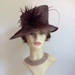 John Lewis Brown Straw Hat Wedding Church Dress Hat With Feather Flash Sold With Original Hat Box