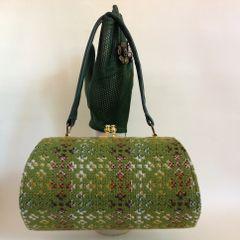 Barrel Shaped Lime Green Welsh Tweed 1960s Vintage Handbag Fabric Lining Mad Men