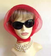 Bright Red Vintage 1960s Nylon Chiffon HeadvScarf Rolled & Stitched Hem Ideal for Races or Goodwood