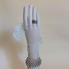 Coldprufe 1950s Vintage Duck Egg Blue Nylon Stocking Gloves Size 6 .5