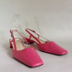 "Hobbs Hot Pink Patent Leather Slingback 1.5"" Block Heel Court Shoes Size UK 3 EU 36"