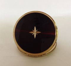 Stratton Vintage 1970s Plated Brass Dark Amber Resin Convertible Powder Compact