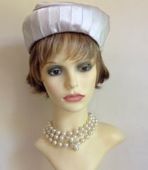 Vintage 1950s Handmade Champagne Satin Pleated And Stitched Pillbox Hat Goodwood