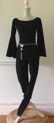 IN THE STYLE Vintage Flamenco Style Black Stretch Slim Leg Catsuit Size 8