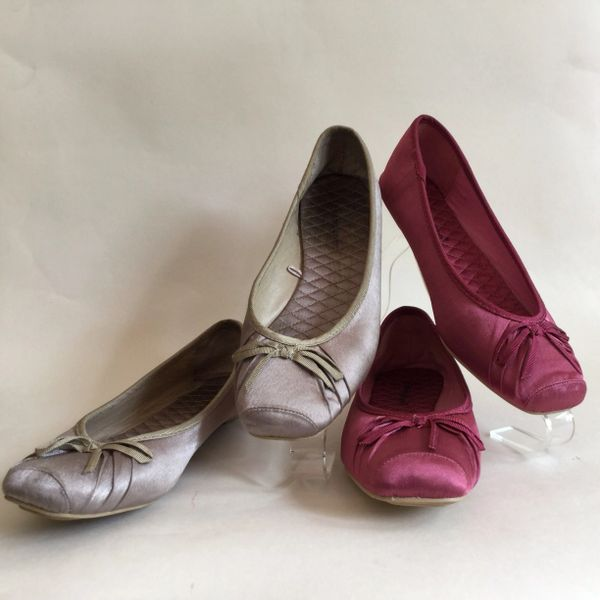 Atmosphere Two Pairs Of Dolly Ballet Pumps Satin Rose Pink & Gold Size UK 4 EU 37