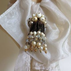 Vintage Faux Pearl And Wire Chain Dangle Glass Cluster Beaded Brooch Pin Date Unknown Goodwood