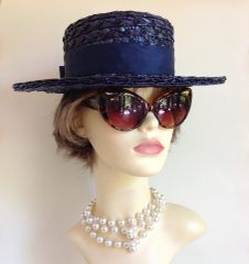 Vintage 1950s Blue Boater Synthetic Straw Hat Replaced Petersham Ribbon & Bow Church Wedding Races