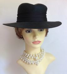 Peter Bettley 1950s Vintage Black Sinamay Hat With Satin Ribbon & Diamanté Trim