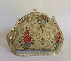 Frankel & Roth London Small Rose Patterned Vintage Machine Tapestry Handbag With Satin Lining
