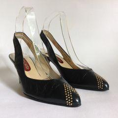 "Roland Cartier Black Leather 1980s Vintage 3"" Heel Slingback Shoes Size UK 4.5 EU 37.5"
