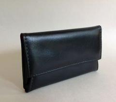 Vintage 1960s Large Black Vinyl Coin Purse Wallet With Red Lining
