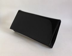 Vintage 1960s Large Black Faux Patent Coin Purse Wallet With Red Lining