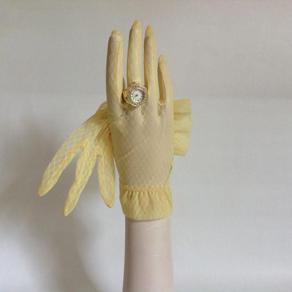 1950s Vintage Yellow Nylon Stocking Gloves Size 6.5 Wedding Goodwood Church
